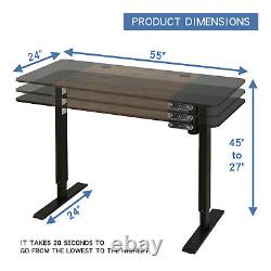 24x55 Adjustable Height Electric Standing Desk Sit Lifting Table Basket+Hook