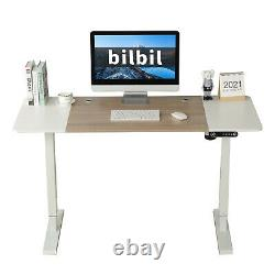 24x55 Electric Standing Desk Height Adjustable Sit Lifting Table Basket+Hook