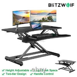 32'' Air Adjustable Standing Desk Riser Tabletop Sit Monitor Stand For PC Laptop