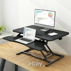 32 Black Height Adjustable Standing Desk Monitor Riser Tabletop Sit to Stand US