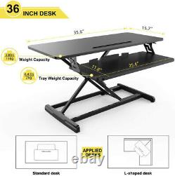 36 inch Height Adjustable Standing Desk Riser Tabletop Sit Stand Workstation