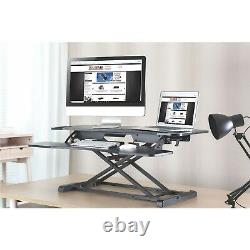 37 Dual Monitor Adjustable Height Desk Riser Tabletop Sit to Stand Workstation