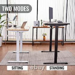 47 Adjustable Height Computer Desk Black for Sitting & Standing 220lb Cap & USB