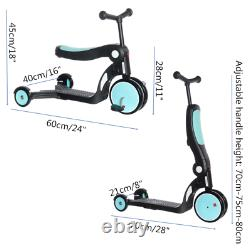 5 in 1 Deluxe Kid Scooter 3 Wheel Adjustable Height Sit-to-Stand