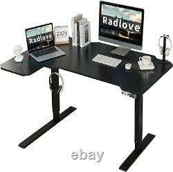 59 L-Shaped Adjustable Height Electric Standing Desk Sit Table Computer Works