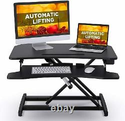 ABOX Electric Powered Lifting Standing Desk Converter, 34 Height Adjustable Sit
