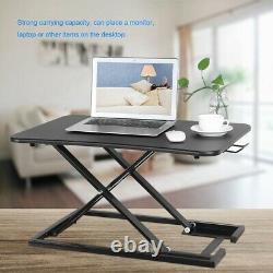 Adjustable Desk Riser Home Shelf Standup Sit Stand Height Standing Laptop Black