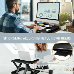Adjustable Height Sit/Stand Desk Computer Lift Riser Laptop Work Station Black