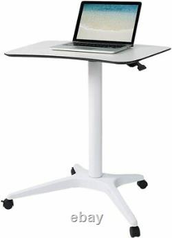 Airlft Pneumatic Sit-stand Mobile Desk Cart, Height-adjustable Standing Desk