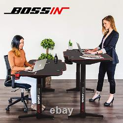 BOSSIN Dual Motor Height Adjustable Electric Standing Desk, 55 x 26 Inches Sit S