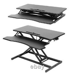 Black Height Adjustable Standing Desk Monitor Riser 32 Sit Stand Tabletop NEW