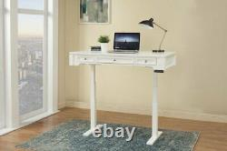 Boca 57 Adjustable Height Sit Stand Power Lift Writing Desk Cottage White