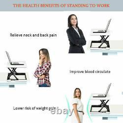 Costway 8 Adjustable Height Sit/Stand Lift Riser Laptop Work Station Desk White