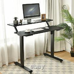 Costway Electric 2-Tier Standing Desk Mobile Sit Stand Desk Height Adjustable