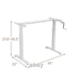 Costway Hand Crank Sit to Stand Desk Frame Height Adjustable Standing Base White