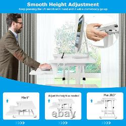 Costway Sit to Stand Desk 32 Standing Desk Converter Height Adjustable White