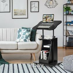 Costway Sit-to-Stand Laptop Desk Cart Rolling Mobile Height Adjustable withStorage