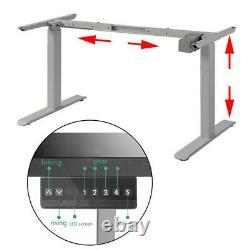 Electric Desk Frame Height Adjustable Motorized Sit Stand Desk Legs Grey USA