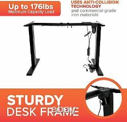 Electric Sit Stand Up Desk Iron Frame Height and Width Adjustable Heavy Duty