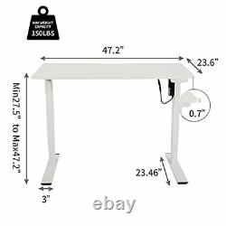Electric Standing Desk, Height Adjustable 48 x 24 Inch Memory Sit Stand White