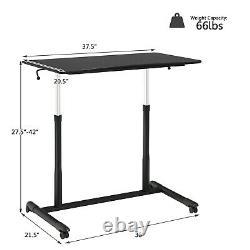 Goplus Height Adjustable Computer Desk Sit Stand Rolling Notebook Table Black