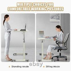 Goplus Height Adjustable Computer Desk Sit Stand Rolling Notebook Table White