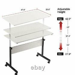 Height Adjustable Desk Sit-Stand 47.6 Elevate Mobile Computer Desk Home Office