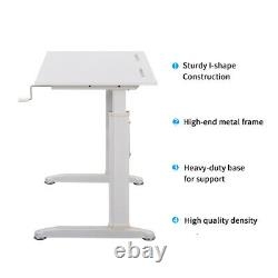 Height Adjustable Standing Desk Sit to Stand Desk Home Office Desk Table White