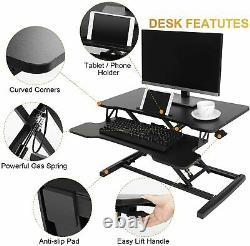 Height Adjustable Standing Desk Workstation Monitor Riser 31 Sit Stand Tabletop
