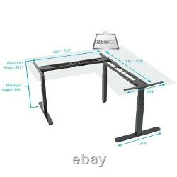 L Shaped Motor Sit Stand Corner PC Computer Desk Frame Height Adjustable Black