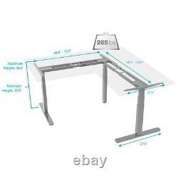 L Shaped Motor Sit Stand Corner PC Computer Desk Frame Height Adjustable Gray