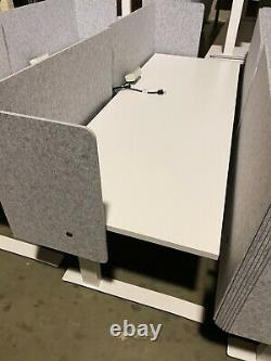 LINAK Desk Line Adjustable Desk Sit-to- Stand with Privacy Fabric Screen