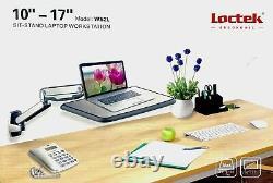 Loctek WS2L Sit Stand Workstation Adjustable Wall Mount Arm for 10-17 Laptop