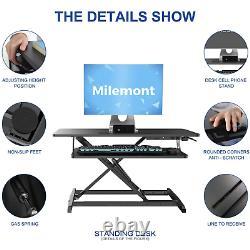 Milemont Standing Desk, Sit Stand Up Desk Height Adjustable Table 36 inch Standi