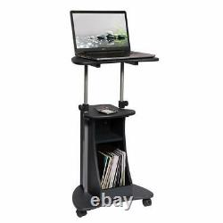 Mobil Sit-to-Stand Adjustable Height Laptop Cart with Storage in Graphite Finish