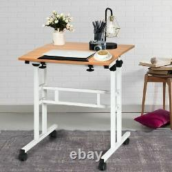 Mobile Adjustable Height Sit Standing Stand Up Desk in White Oak
