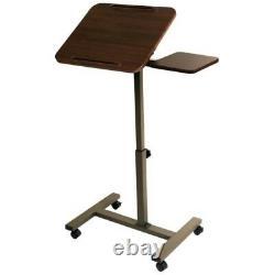 Mobile Computer Desk Sit Stand Tilt Rolling Adjustable Laptop Cart SideTable