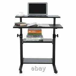 Mobile Height Adjustable Computer Sit Stand Workstation PC Laptop Table Desk