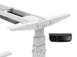 Monoprice Adjustable Sit Stand Table Desk Frame White For Desktops Up To 87in
