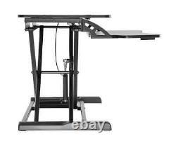 Monoprice Height Adjustable Sit Stand Riser Workstation Desk Converter Black