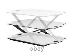 Monoprice Ultra Slim Adjustable Sit Stand Riser Table Top Converter White