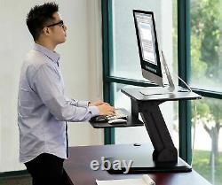 Mount-It! Sit Stand Desk Converter Ergonomic Height Adjustable Tabletop Desk