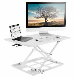Mount-It! Standing Desk Converter Height Adjustable Sit Stand Desk White