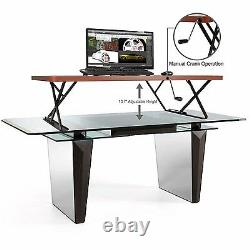 NEW Halter Manual Adjustable-Height Table Top Sit / Stand Desk (Cherry Color)