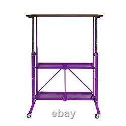 Origami Up Down Adjustable Sitting Standing Desk, Purple Walnut (Open Box)