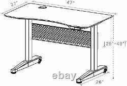 PneuDesk 47x27 Movable Sit/Standing Desk, Pneumatic Height Adjustable 29-48