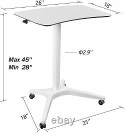 Pneumatic Height Adjustable Sit-Stand Mobile Laptop Computer Desk Cart White