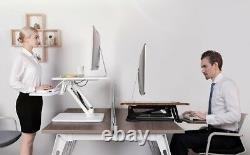 Pneumatic Sit-to-Stand Adjustable Single Column Riser Desk Converter