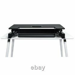 Premium Tabletop Adjustible Height 36 Wide Sit Stand Riser Desk in Black
