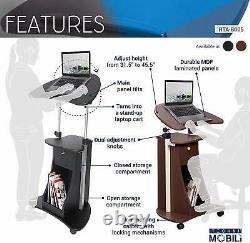 RTA Techni Mobili Sit-to-Stand Rolling Adjustable Laptop Cart &Storage, Chocolate